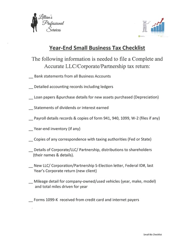 Small Business Tax Checklist - Lillian's Professional Services